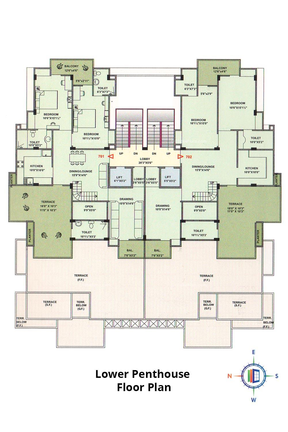 Pearl Passion Goverdhan Lower Penthouse Floor Plan