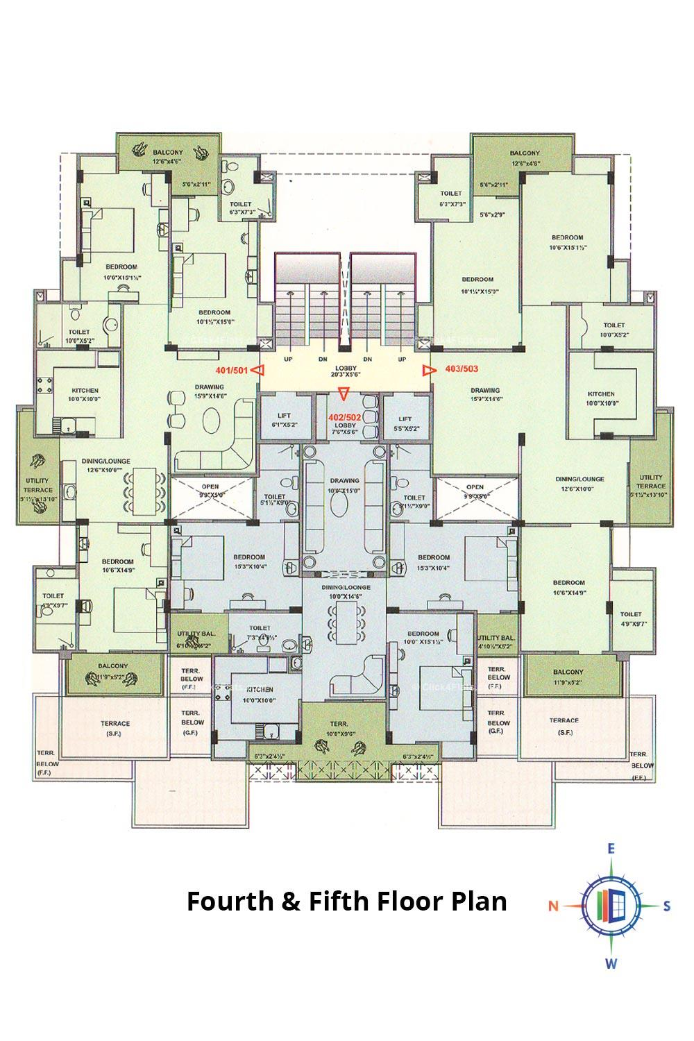 Pearl Passion Goverdhan Fourth & Fifth Floor Plan