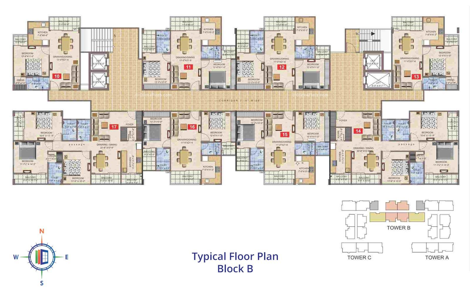 Taruchaya Residency  Typical Floor Plan Block B
