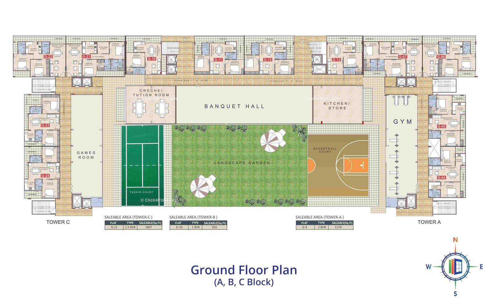 Taruchaya Residency  Ground Floor Plan