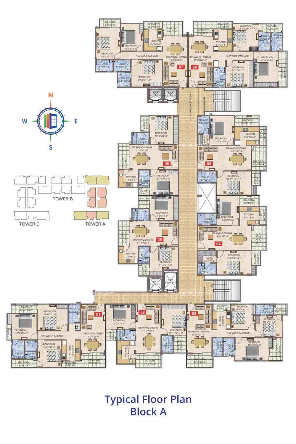 Taruchaya Residency  Typical Floor Plan Block A