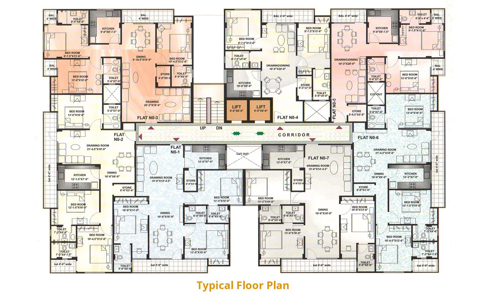 Paradise Apartments Typical Floor Plan