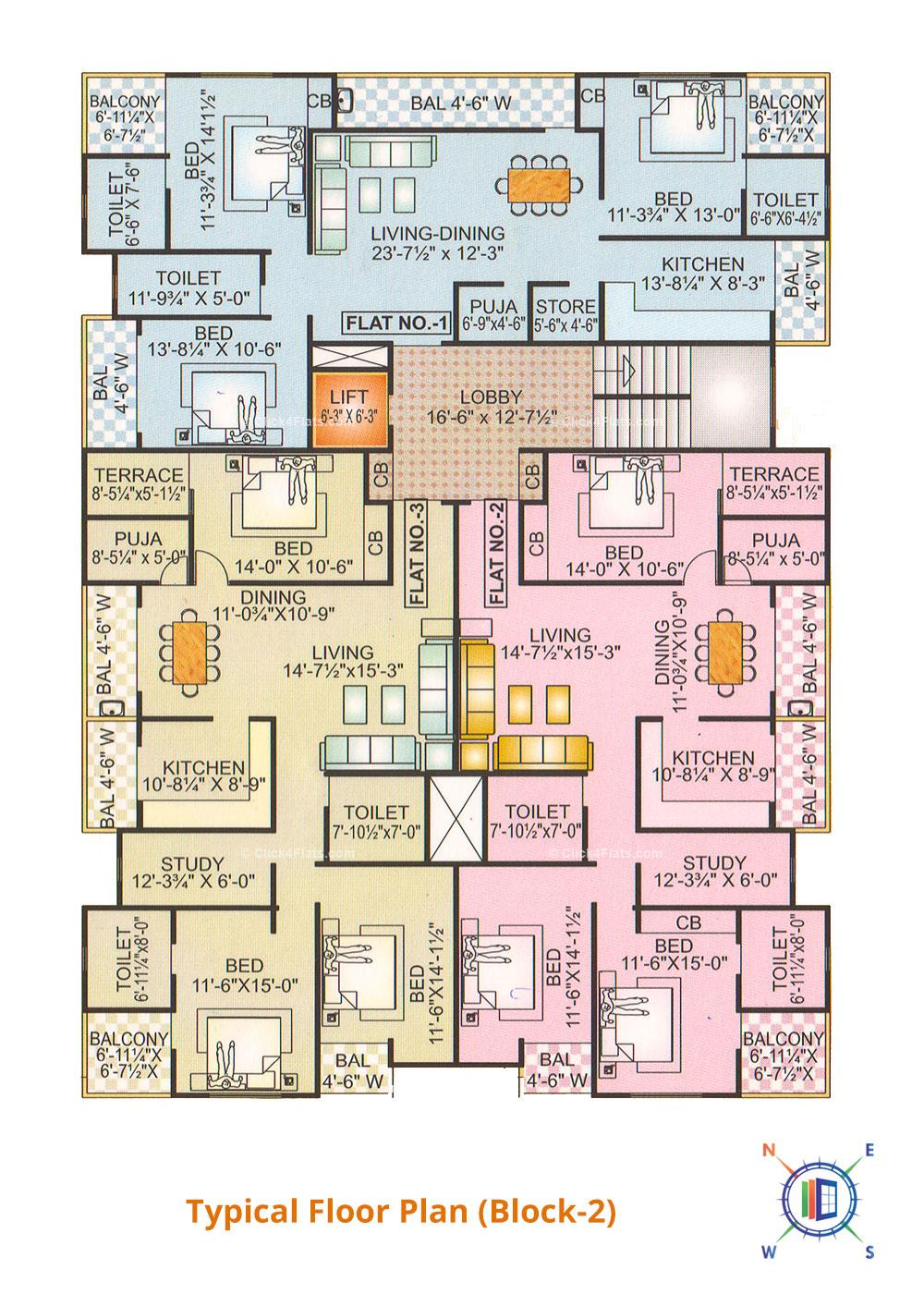 Sapphire Anand Typical Floor Plan (Block-2)