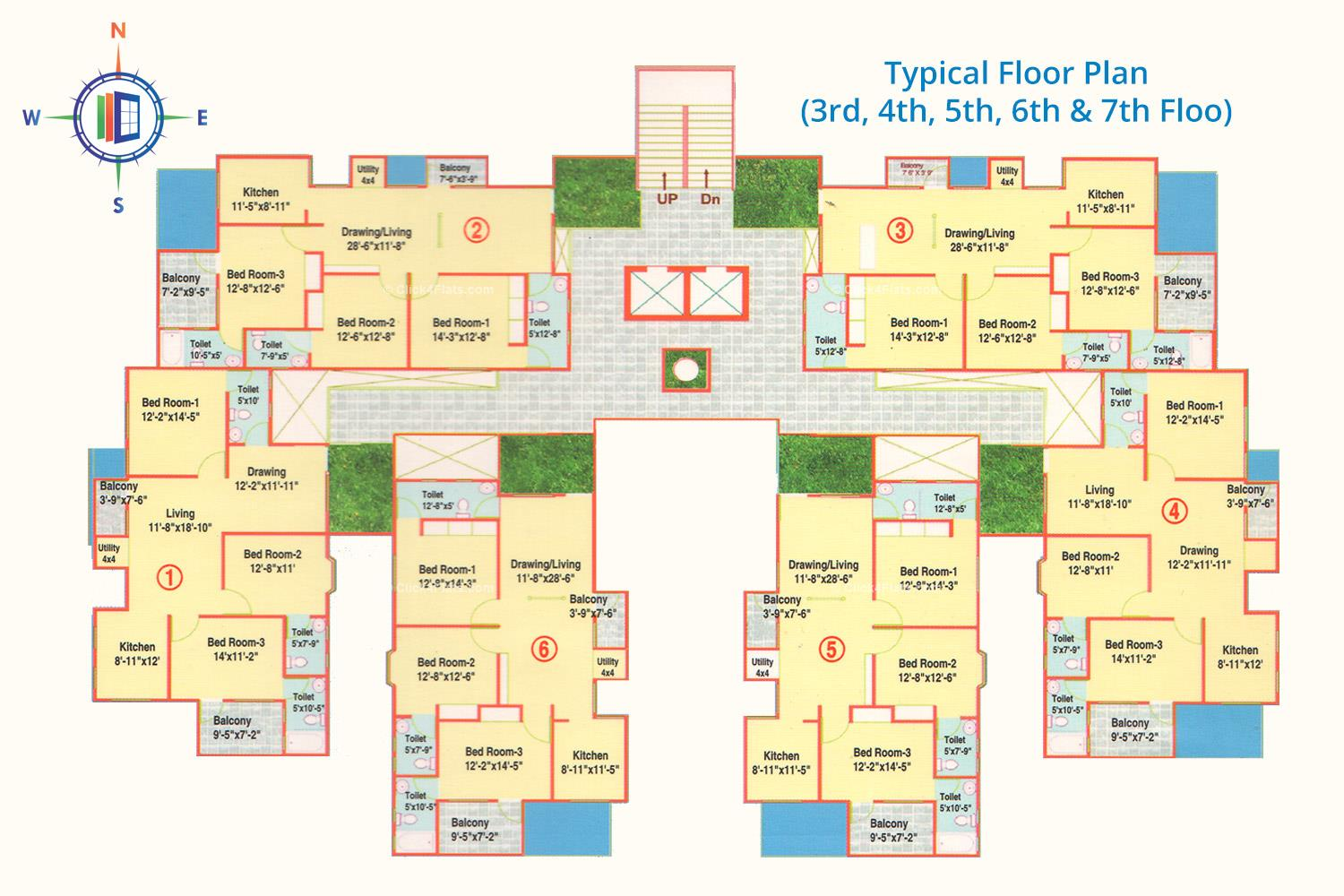 The Crown Plaza Typical Floor Plan