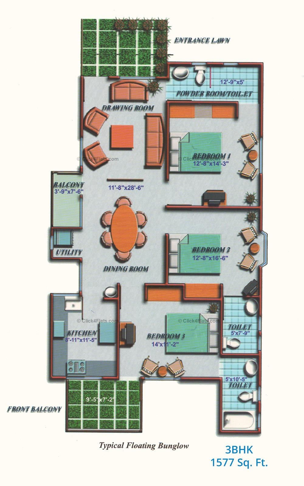 The Crown Plaza 3 BHK