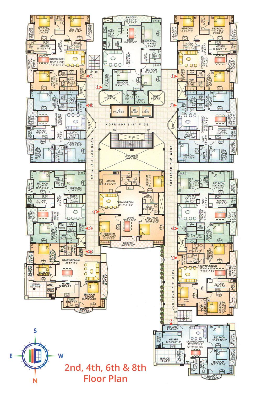 KK Tower 2nd, 4th, 6th & 8th Floor Plan