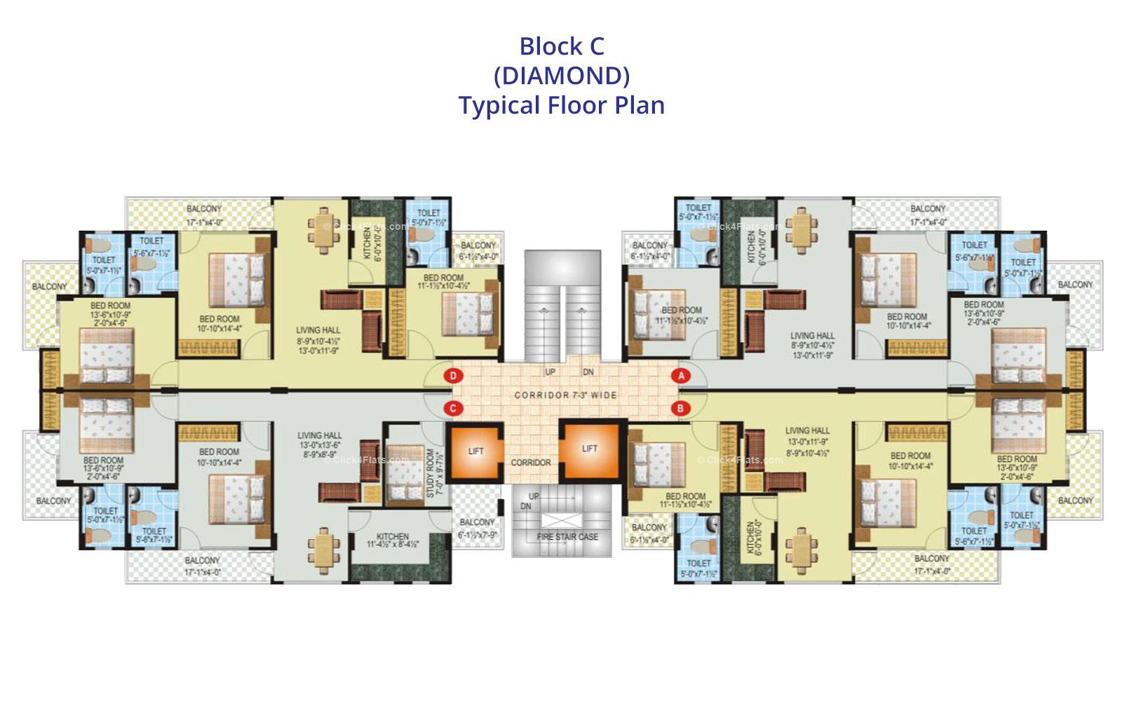 SDC Green Park Typical Floor Plan (Block C)