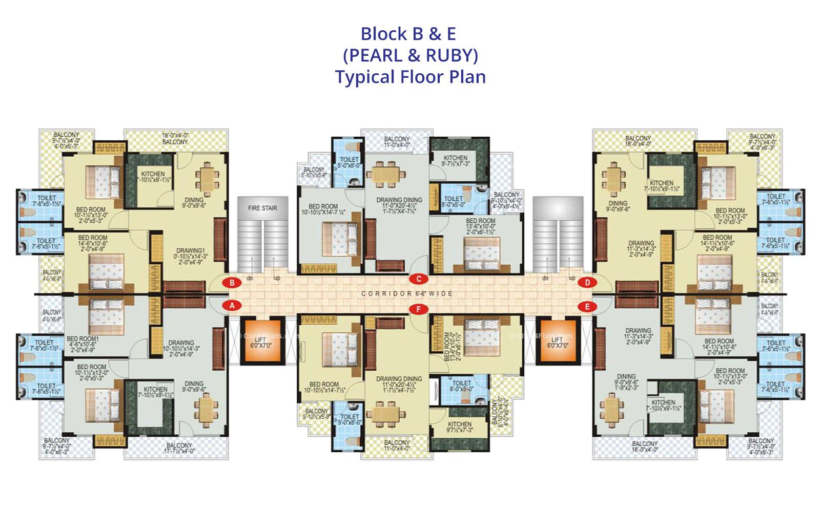 SDC Green Park Typical Floor Plan (Block B & E)
