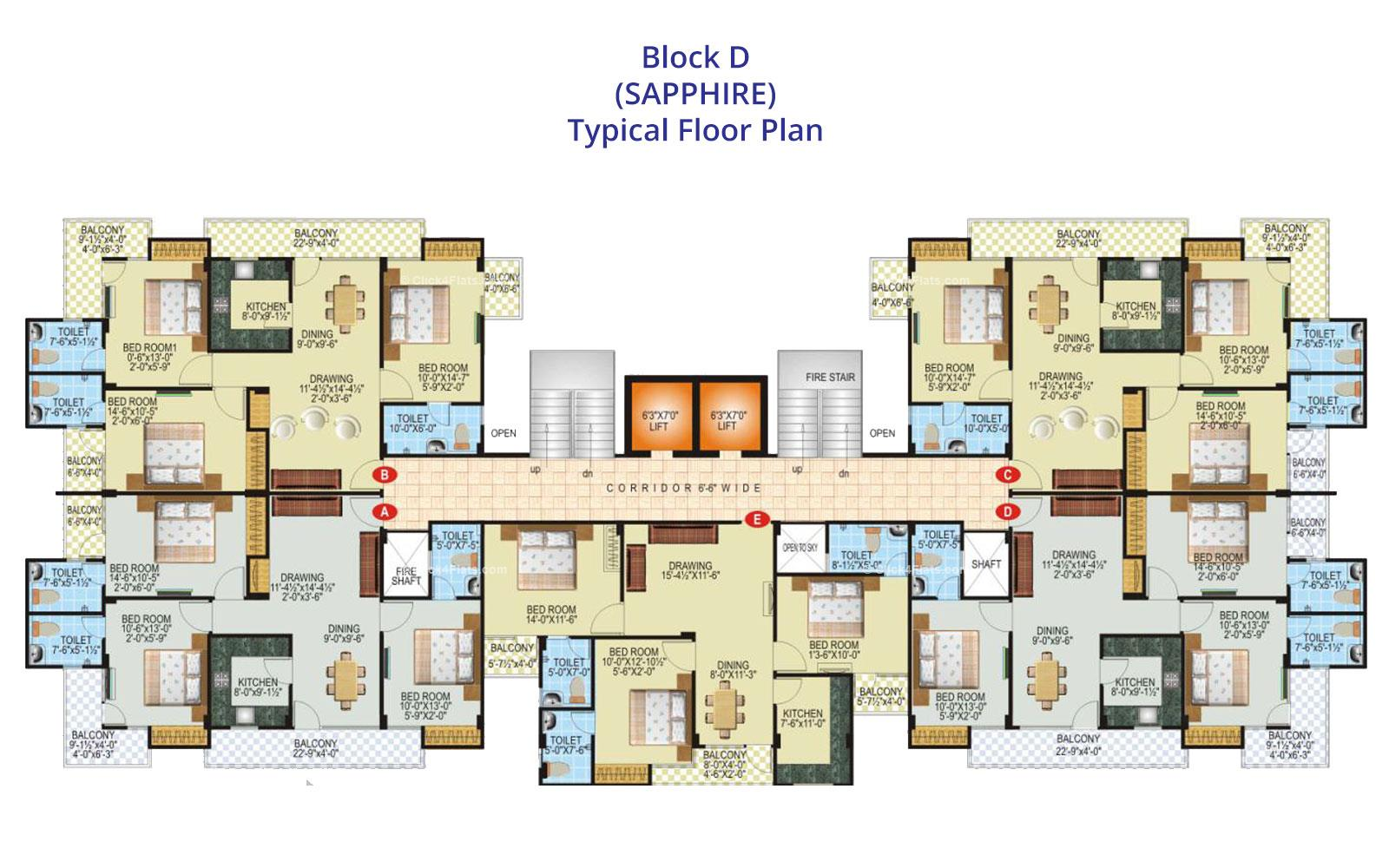 SDC Green Park Typical Floor Plan (Block D)