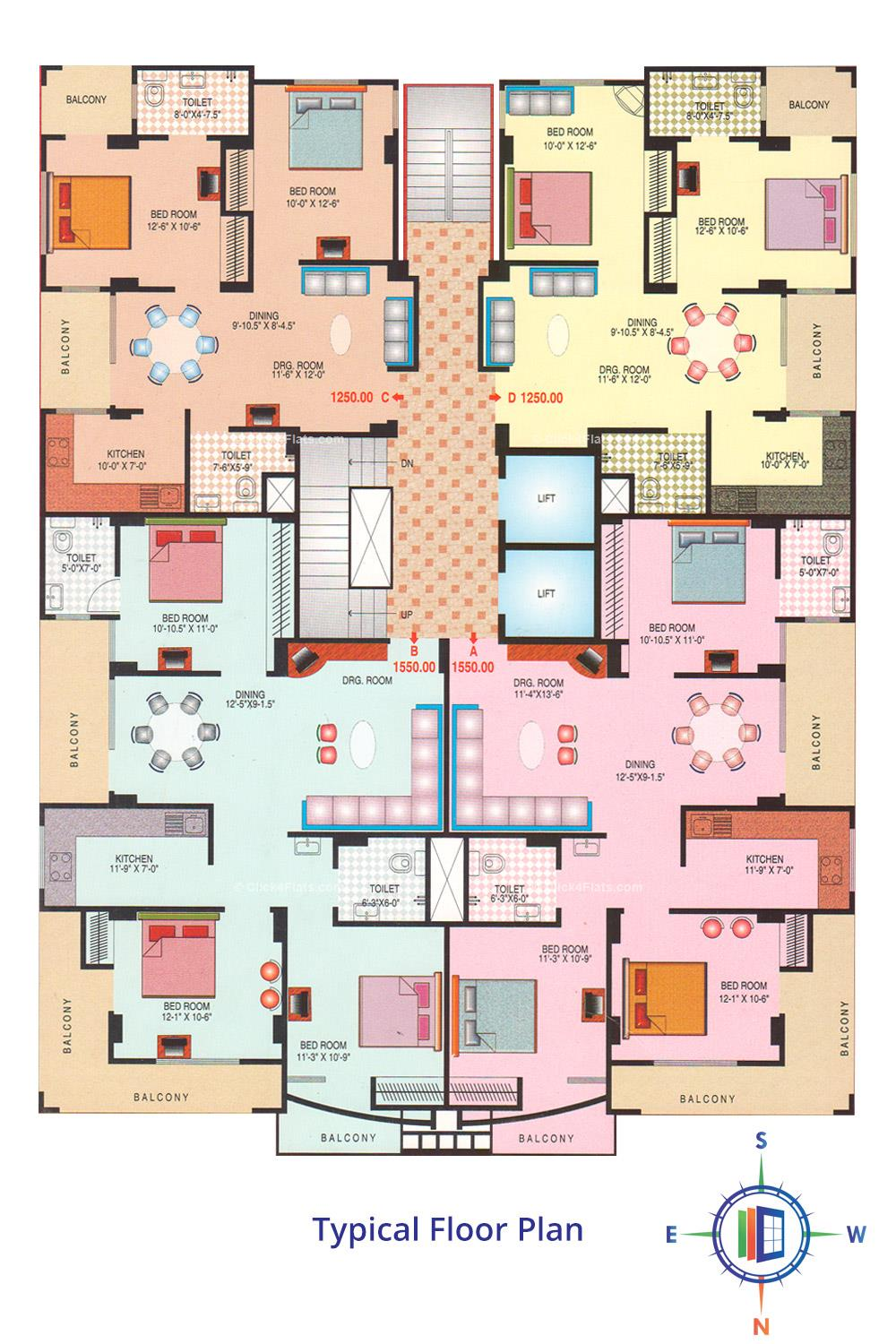 Jagmohan Golden Fortune Typical Floor Plan