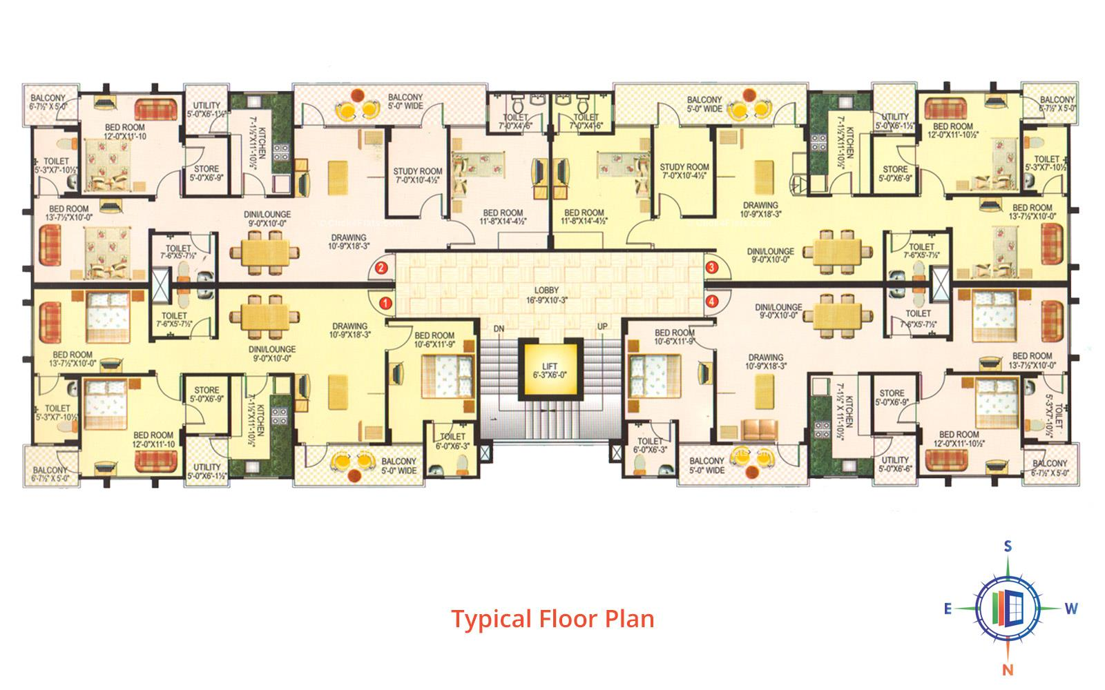 Vardhman Anukampa Typical Floor Plan