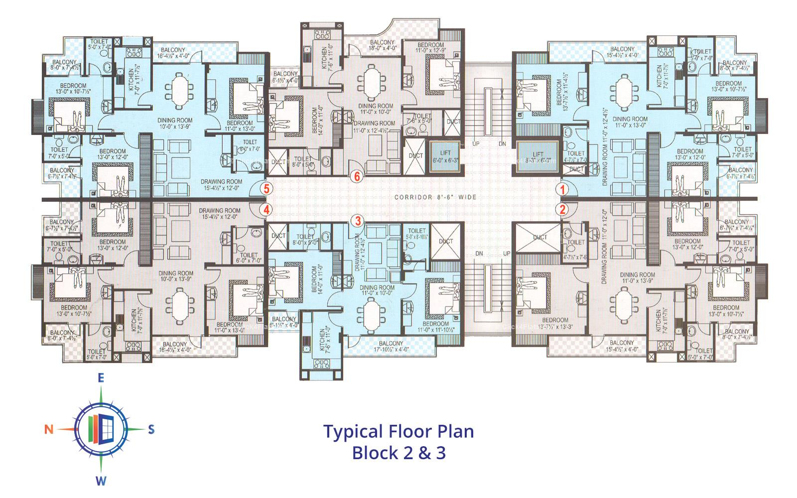 Samriddhi Residency Typical Floor Block 2nd & 3rd