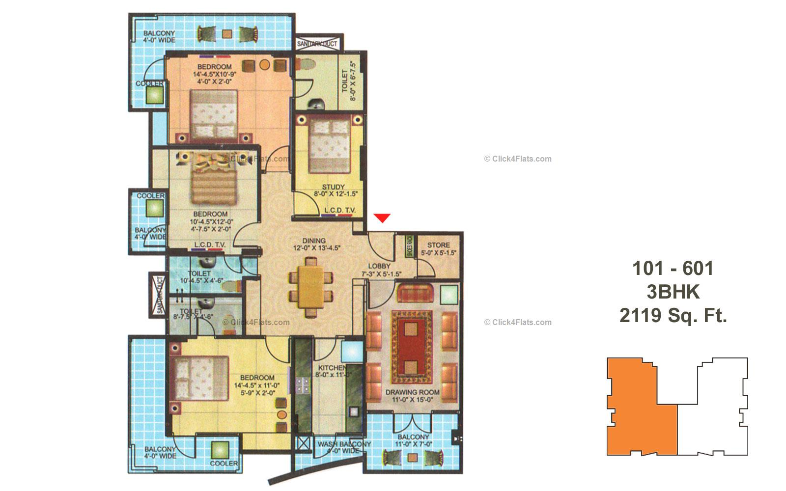 Manshri City Apartment 4 BHK 2119 square feet