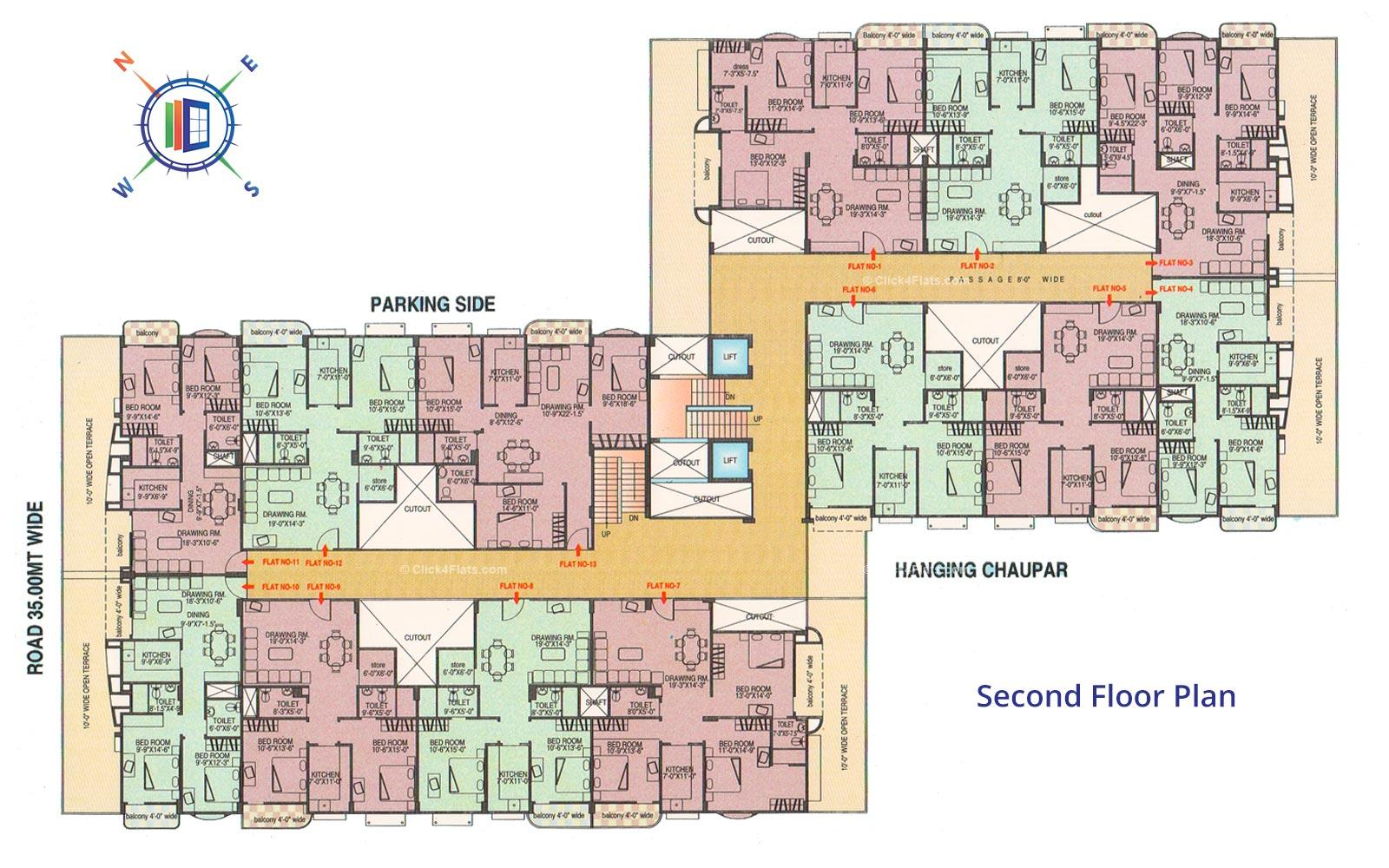 Ganpati Paradise Second Floor Plan