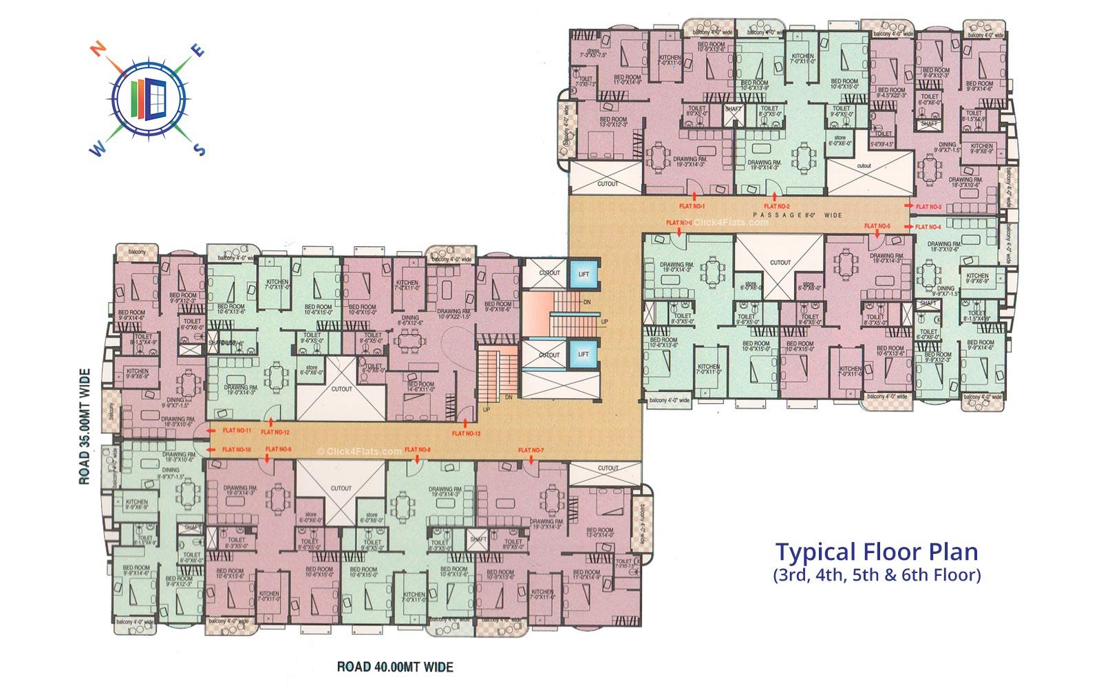 Ganpati Paradise Typical Floor Plan