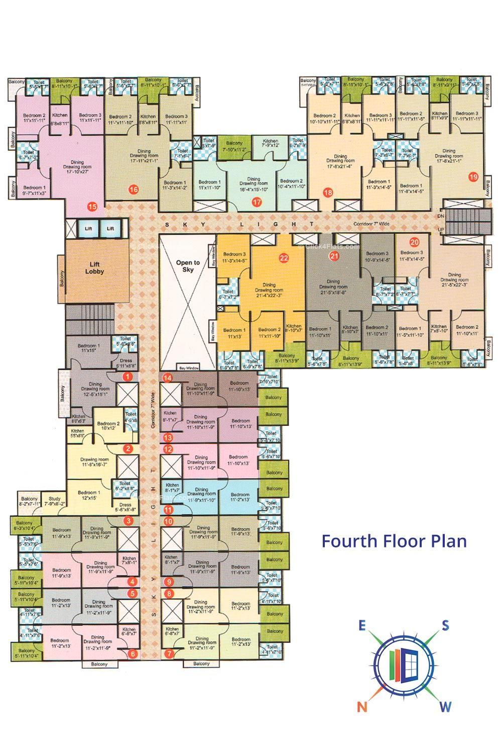 The Tulip Enclave Fourth Floor Plan