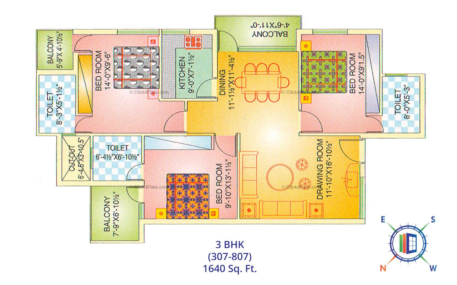 Balaji Tower 1 3 BHK