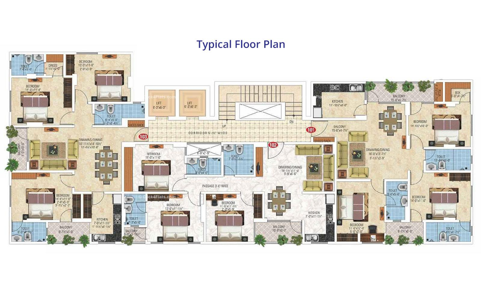 Royal Ornate Typical Floor Plan
