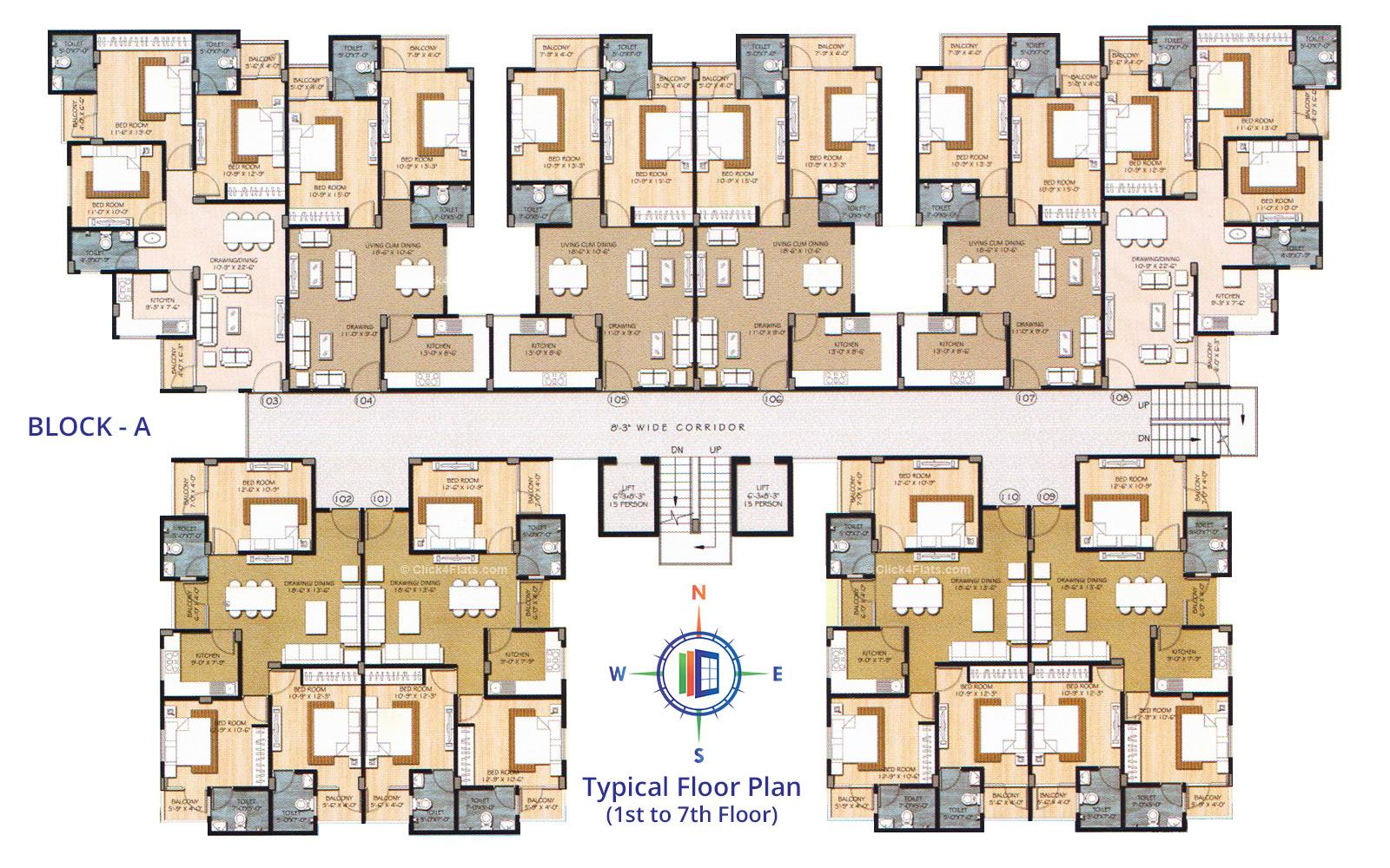 Star Heights Typical Floor Plan (Block A)