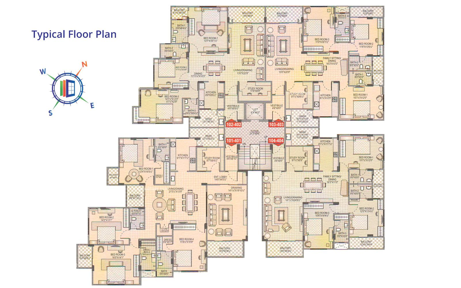Akshat Traiyalokya Typical Floor Plan