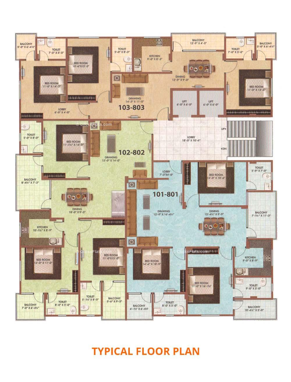 Govindam Pearl Legacy Typical Floor Plan