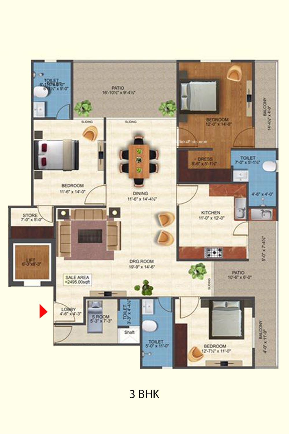 Royal Anmol 3 BHK