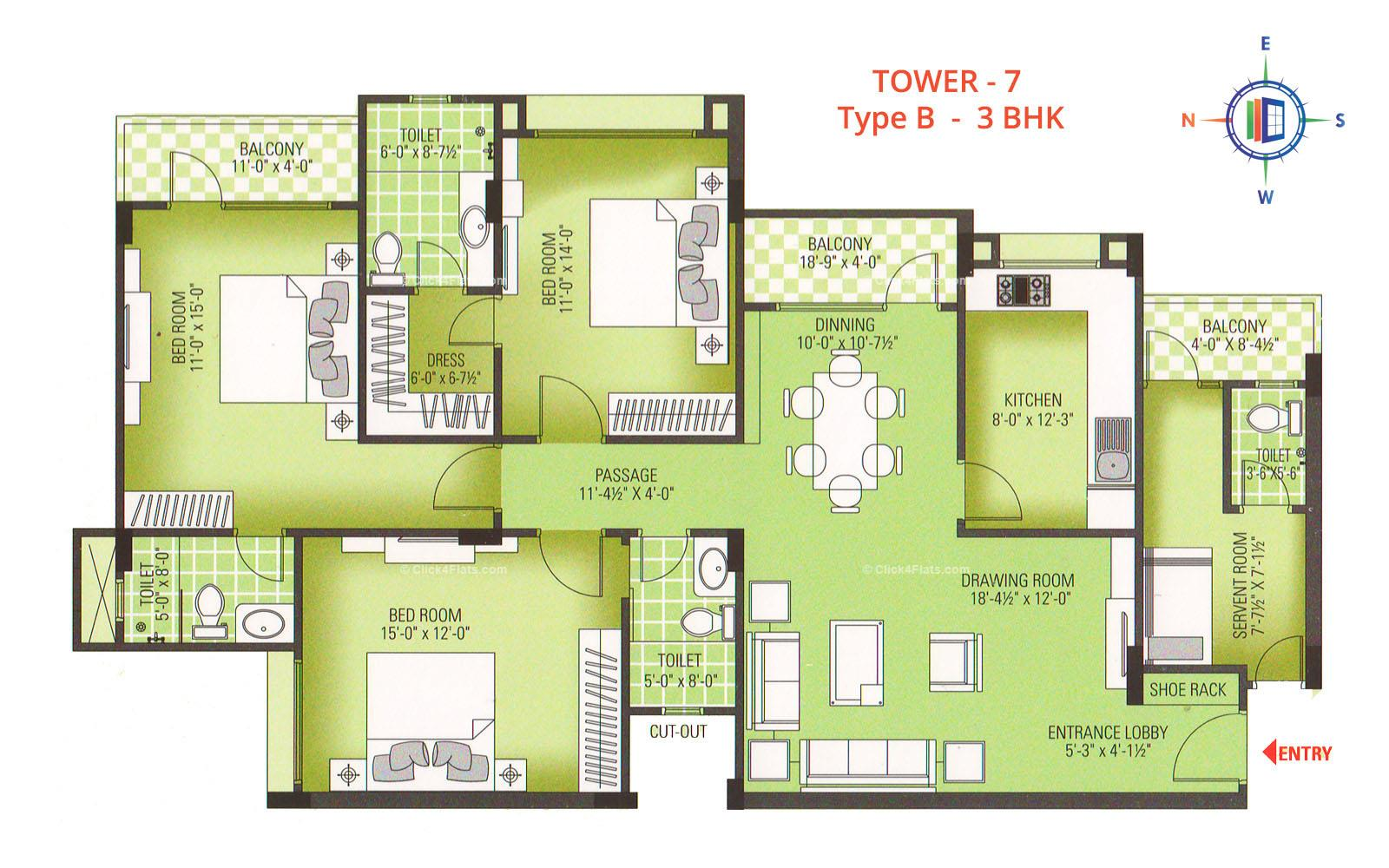 Royal Greens II 3 BHK