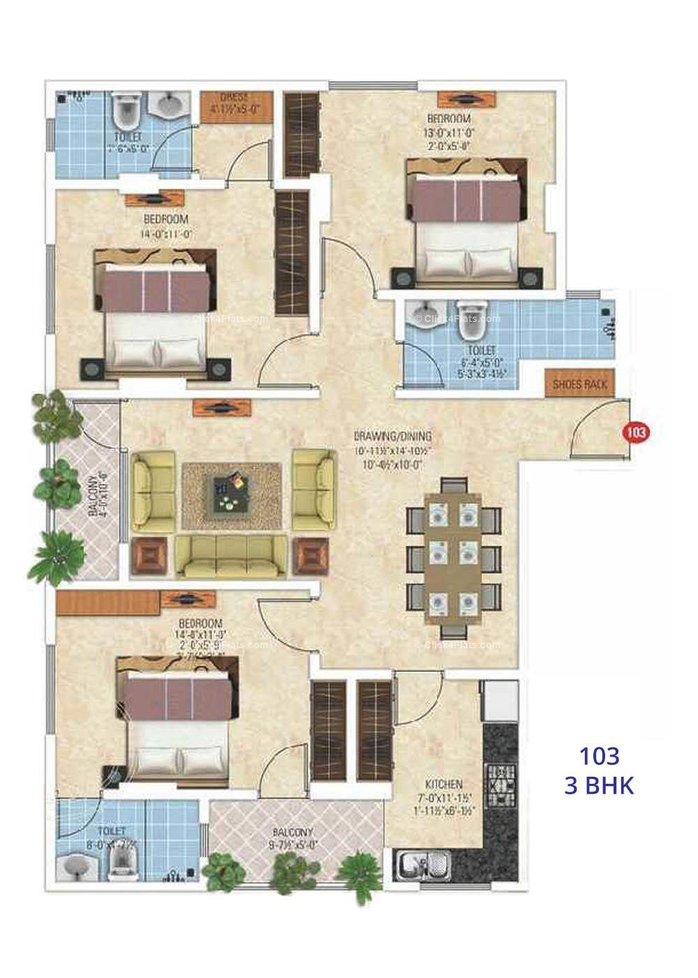 Royal Ornate 3 BHK
