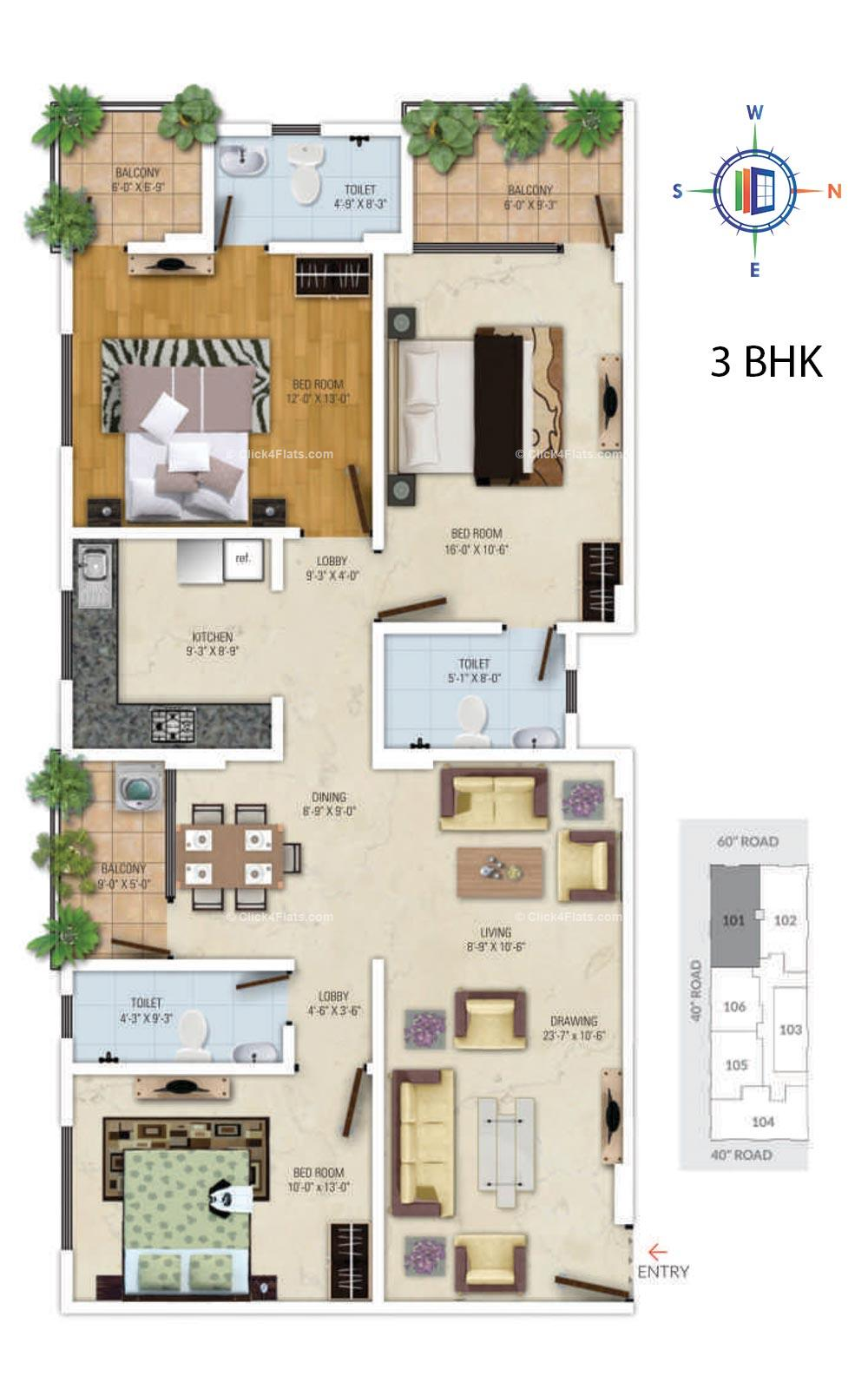 Royal Avenue 3 BHK