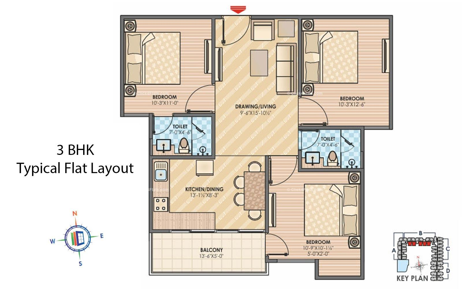 Sky Lounges 3 BHK